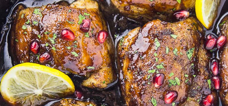 Skillet Honey & Pomegranate Chicken Thighs